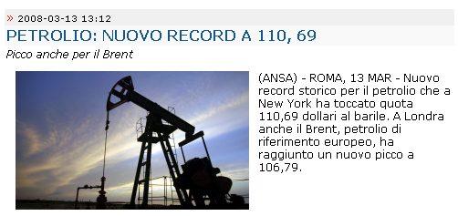 petrolio a $110,69 al barile